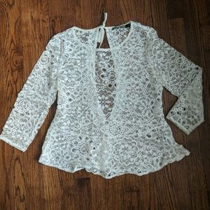 For Love and Lemons lace tie back peplum top